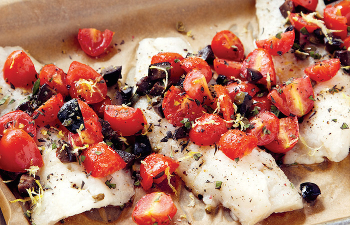 Baked Fish with Capers, Olives & Tomatoes